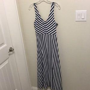 Flared Navy and White Stripe Midi Strap Dress